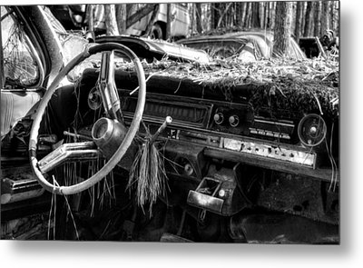 Nature Takes Over A Cadillac In Black And White Metal Print by Greg Mimbs