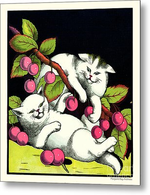 Naughty Cats Play With Cherries  Metal Print by Pierpont Bay Archives
