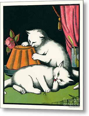 Naughty Cats Preen And Lounge With Rose Topped Cake Metal Print by Pierpont Bay Archives