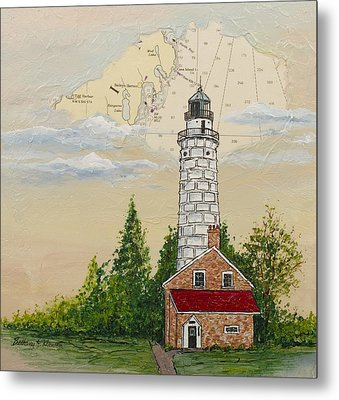 Nautical Chart Cana Island Lighthouse Metal Print by Bethany Kirwen