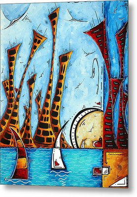 Nautical Coastal Art Original Contemporary Cityscape Painting City By The Bay By Madart Metal Print by Megan Duncanson