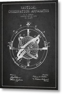 Nautical Observation Apparatus Patent From 1895 - Dark Metal Print by Aged Pixel