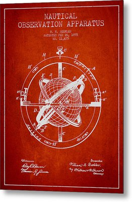 Nautical Observation Apparatus Patent From 1895 - Red Metal Print by Aged Pixel