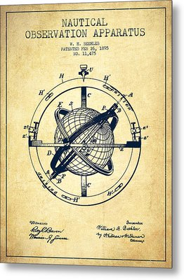 Nautical Observation Apparatus Patent From 1895 - Vintage Metal Print