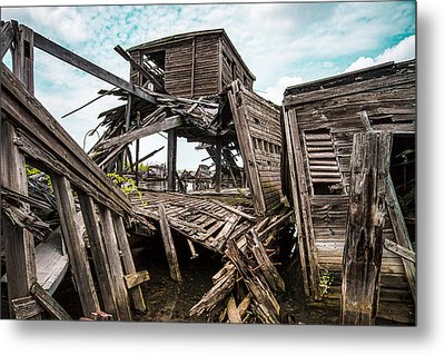 Nautical - Shipwreck - Collapsed Pier Metal Print by Gary Heller