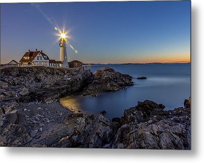 Nautical Twilight At Portland Head Metal Print by Dave Cleaveland