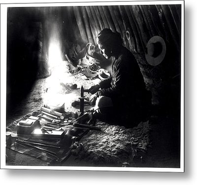 Navaho Silversmith Metal Print by William J Carpenter
