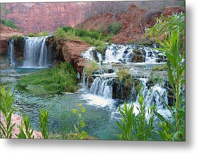 Metal Print featuring the photograph Navajo Falls by Alan Socolik