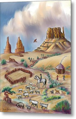 Navajo Sheepherder - Age 11 Metal Print by Dawn Senior-Trask