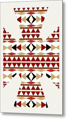 Navajo White Pattern Art Metal Print by Christina Rollo