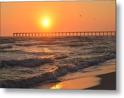 Metal Print featuring the photograph Navarre Beach And Pier Sunset Colors With Birds And Waves by Jeff at JSJ Photography