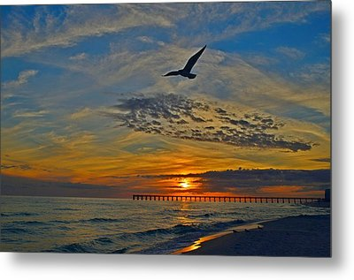 Metal Print featuring the photograph Navarre Beach And Pier Sunset Colors With Gulls And Waves by Jeff at JSJ Photography