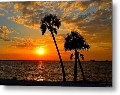Navarre Beach Bridge Sunrise Palms Metal Print by Jeff at JSJ Photography