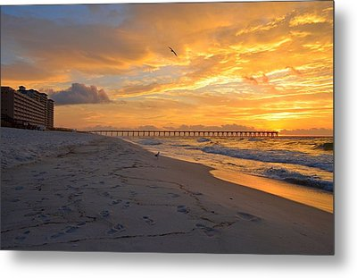 Navarre Pier And Navarre Beach Skyline At Sunrise With Gulls Metal Print