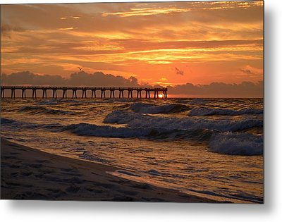 Navarre Pier At Sunrise With Waves Metal Print