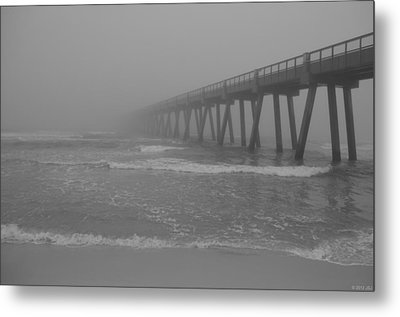 Navarre Pier Disappears In The Bw Fog Metal Print