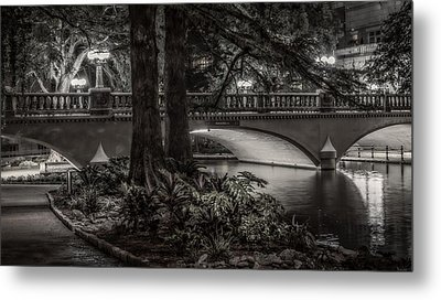 Metal Print featuring the photograph Navarro Street Bridge At Night by Steven Sparks