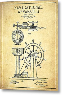Navigational Apparatus Patent Drawing From 1920 - Vintage Metal Print by Aged Pixel