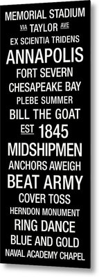 Navy College Town Wall Art Metal Print
