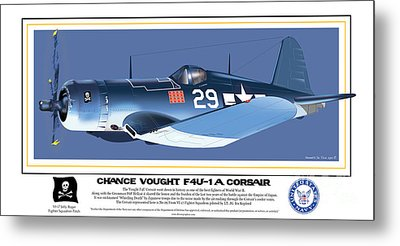 Navy Corsair 29 On Blue Metal Print by Kenneth De Tore