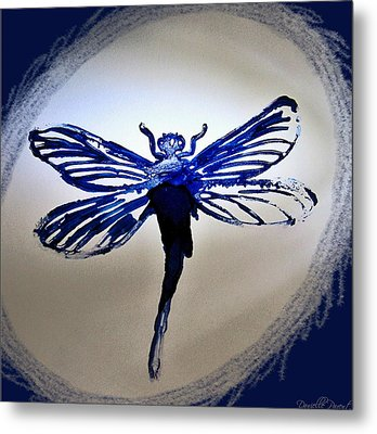 Navy Dragonfly Alcohol Inks  Metal Print