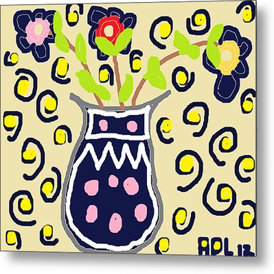 Metal Print featuring the painting Navy Flowers In A Vaz by Anita Dale Livaditis