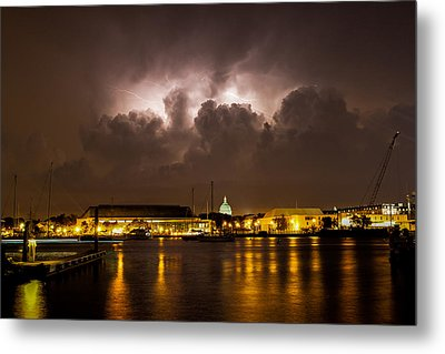 Navy Lightning Metal Print