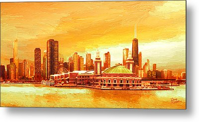 Navy Pier Chicago --autumn Metal Print