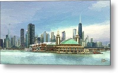 Navy Pier Chicago --winter Metal Print by Doug Kreuger