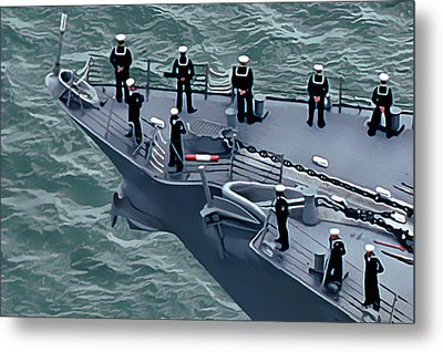 Navy Sailors On The Bow Metal Print by Wernher Krutein