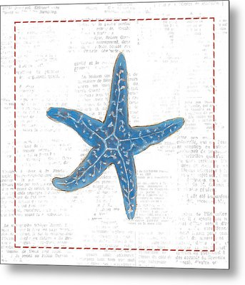 Navy Starfish On Newsprint With Red Metal Print by Emily Adams
