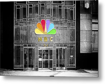 Nbc Facade Selective Coloring Metal Print by Thomas Woolworth