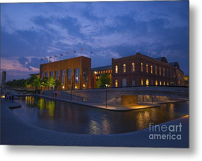 Ncaa Hall Of Champions Blue Hour Wide Metal Print by David Haskett