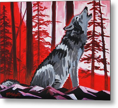 Wolf With Red Sky Metal Print