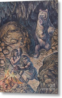 Neanderthal Humans Confronted By A Cave Metal Print by Mark Hallett
