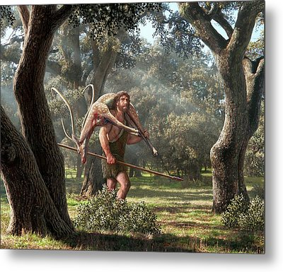 Neanderthal Hunter Metal Print