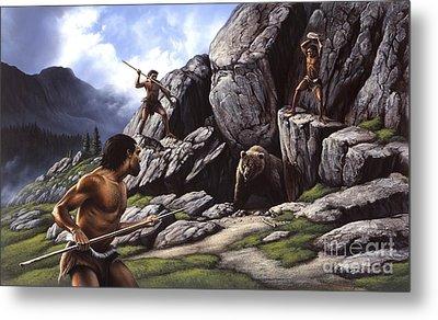 Neanderthals Hunt A Cave Bear Metal Print by Jerry LoFaro