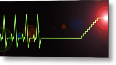 Near-death Experience, Heartbeat Trace Metal Print by Science Photo Library