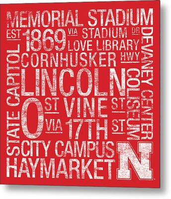 Nebraska College Colors Subway Art Metal Print by Replay Photos