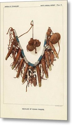 Necklace Of Human Fingers Metal Print by Art And Picture Collection/new York Public Library