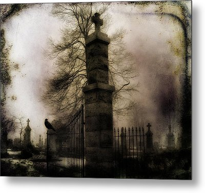 Necropolis Gate And Crow Metal Print by Gothicrow Images