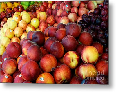 Metal Print featuring the photograph Nectarines At Rest by Vinnie Oakes