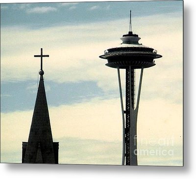 Metal Print featuring the photograph Seattle Washington Space  Needle Steeple And Cross by Michael Hoard