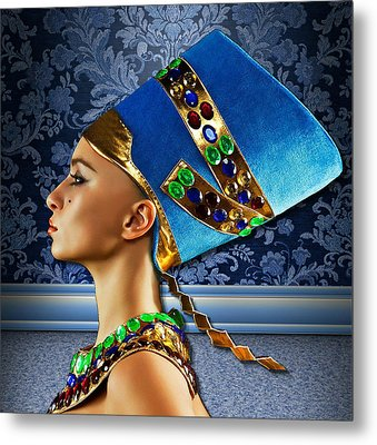 Nefertiti 2 Metal Print by Karen Showell