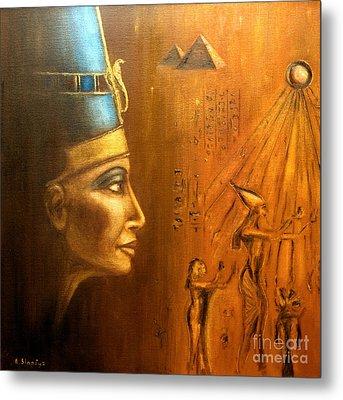 Metal Print featuring the painting Nefertiti by Arturas Slapsys