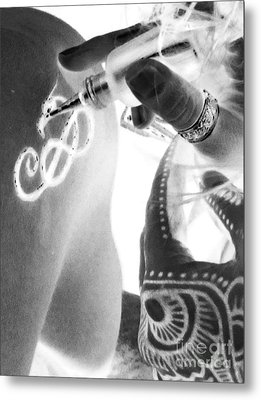 Metal Print featuring the digital art Negative Henna Hands II by Jennie Breeze