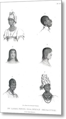 Negro And Indian Heads Metal Print by British Library