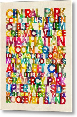 Neighborhoods Of Manhattan New York Metal Print by Michael Tompsett