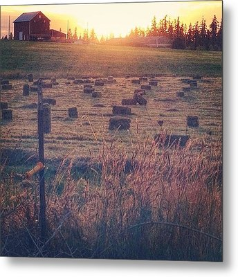 Neighboring Farm At Sunset...have A Metal Print by Blenda Studio
