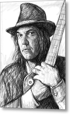 Neil Young Art Drawing Sketch Portrait Metal Print by Kim Wang